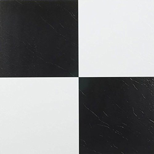 "20 Self Adhesive Black and White Checker Board pattern 12"" X 12"" Vinyl Flooring Tiles"