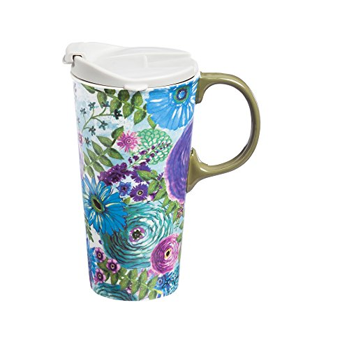 Cypress Home Watercolor Floral Ceramic Travel Coffee Mug, 17 ounces