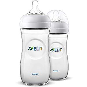 Philips Avent Biberón Natural SCF036/27 – Pack de dos biberones, de 330 ml con tetina con flujo para recién nacidos, diseñada para imitar el tacto del pecho, 0% BPA, 6m+, color transparente