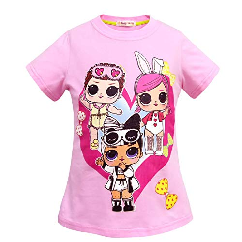 Girls Short Sleeve Cotton Tshirts for Doll Surprised.The Princess Tee Top T-Shirt ()
