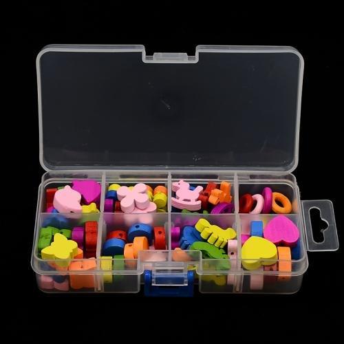 13~21x14~18x4~6 mm Pandahall,Abalorios de madera mixtos color mezclado,Precio por 1 Caja tenido formas mixtas agujero: 2~8 mm; 80 piezas // caja