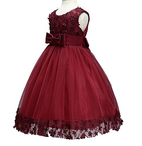 Party Dresses for Girls Kids Wedding Birthday Burgundy Dresses Baby Little Girls Sleeveless Elegant Prom Lace Dress 3t (4 314 Red (Party Dresses For Childrens)