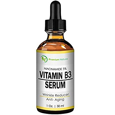 Vitamin B3 Facial Serum, Niacinamide 5%, 1oz cream - Pore Tightener, Wrinkle Reducer, & Collagen Booster for Anti-Aging, By Premium Nature