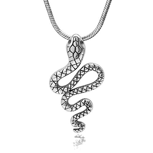 Chuvora 925 Oxidized Sterling Silver Cobra Snake Pendant Necklace, 18 inches