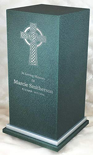Personalized Engraved Celtic Cross Cremation Urn for Human Ashes-Made in America-Handcrafted in The USA by Amaranthine Urns-Eaton SE- Adult Funeral Urn up to 200 lbs Living Weight Forest Green
