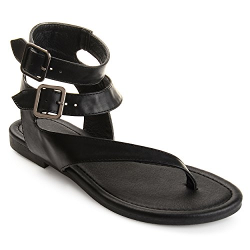 Journee Collection Womens Double Wrap Buckle Thong Sandals Black, 6.5 Regular US
