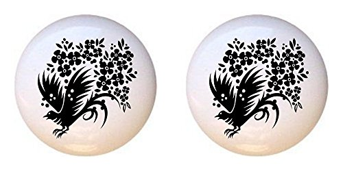 (SET OF 2 KNOBS - Chinese Swirl Floral Design #080 - GF Images - DECORATIVE Glossy CERAMIC Cupboard Cabinet PULLS Dresser Drawer KNOBS)