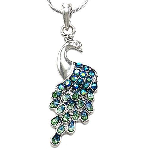 Soulbreezecollection Green Peacock Pendant Necklace Charm Aurora Borealis Rhinestones Fashion Jewelry