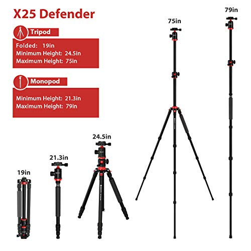 GEEKOTO Tripod, Camera Tripod for DSLR, Aluminum Tripod with 360-Degree Ball Head and Rotatable Center Column, 75-Inch Professional Tripod for Travel and Work