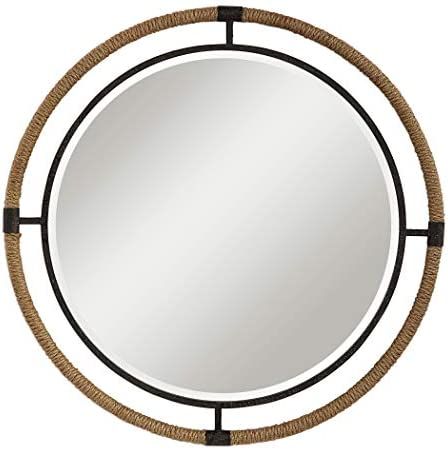 MY SWANKY HOME Coastal Rope Wrapped Frame Round Wall Mirror Black 36 Vanity Rustic Cottage