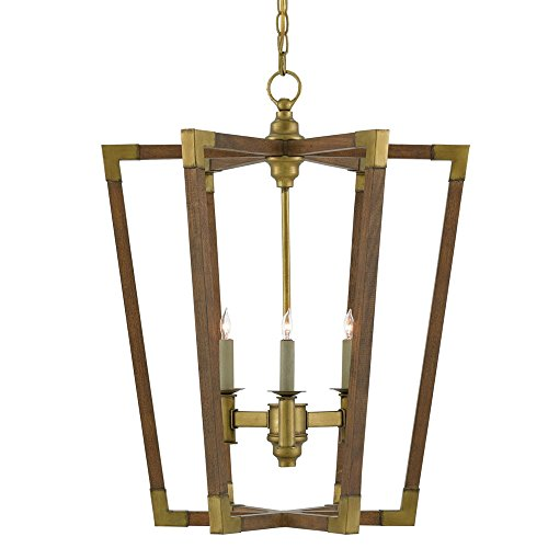 (Currey and Company 9000-0220 Bastian - Six Light Small Chandelier, Chestnut/Brass Finish )