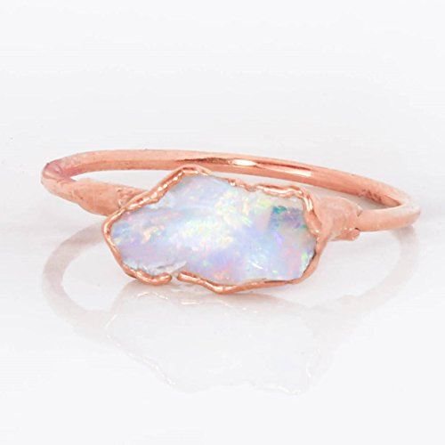 Raw Opal Ring, Size 5, Rose Gold, October Birthstone Stacking Ring 14k Yellow Gold Rough