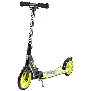 STAR-SCOOTER Original Pro Sport Big Wheel Push kick Scooter Foldable with Extra Big Footstep for Adults, Teens and Kids age 7 years   205mm XXL Footstep Edition   Black & Green