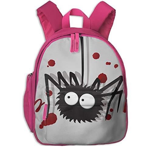 Spooky Halloween Hand Lettering Double Zipper Waterproof Children Schoolbag With Front Pockets For Teens Boys Girl ()