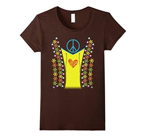 1960's Female Costumes (Womens 1960s Hippie Costume Shirt Halloween 1970s XL Brown)