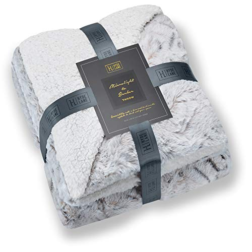 Hyde Lane Super Soft Cozy Blanket for Couch & Bed - 2 Way Reversible Texture Fluffy Warm Sherpa Throw Polar Fleece Blanket with Plush Minky Faux Fur - Gray Snow Leopard 50x60 (Leopard Plush Blanket)