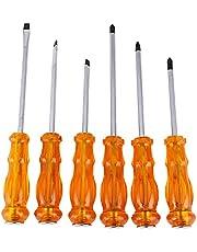 6-Piece Screwdriver Set Orange/Silver 12inch