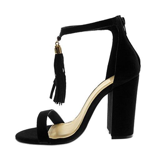 a Decollete 5 con Scarpe 10 cm PON Frange Tanga Angkorly Caviglia Moda PON Cinturino Tacco Donna alla Tacco Nero Alto Sandali con Blocco qnaxtR