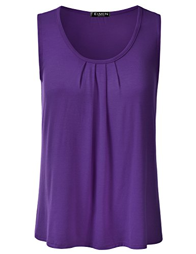 Rayon Shell - EIMIN Women's Pleated Scoop Neck Sleeveless Loose Fit Basic Soft Tank Top Purple M