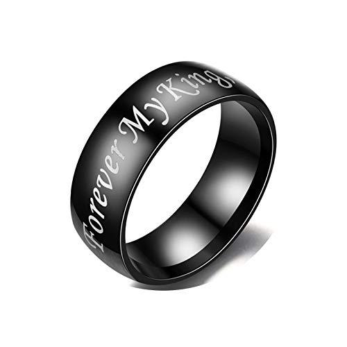 (Epinki Rings Stainless Steel Couples 1 Pcs Ring Engraved Forever My King Black Men Promise Ring Ring Size 7)