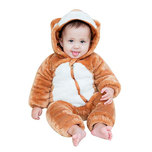 mikistory Infant Romper Newborn Unisex Costume for Baby Newborn Outfit Hoodie Winter Baby Outfits Bodysuits Brown Monkey 3-6Months (Infant Snowsuit Unisex)