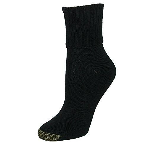 GOLD TOE Women's 3-Pack All-Day Comfort Bermuda Turn Cuff Socks Black 6-9