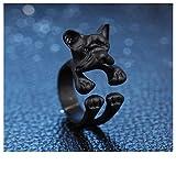 Beclgo Ring, Jewelry French Bulldog Dog Animal Wrap Rings Finger Ring Adjustable Ring (Free,Black)