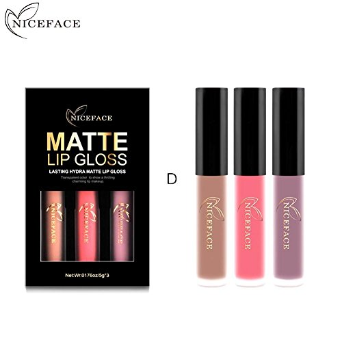 Gracefulvara 3Pcs Long Lasting Waterproof Velvet Matte Lipst