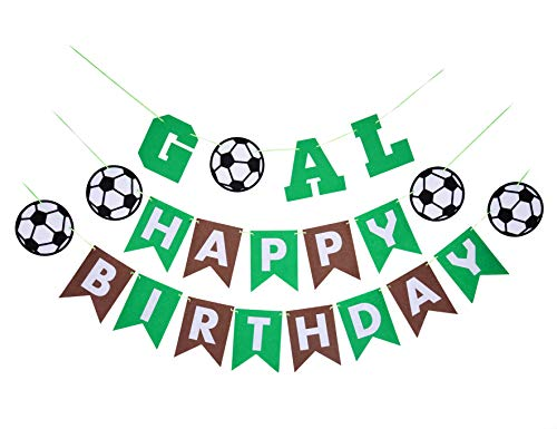 Back to School Soccer Theme Party Supplies Kit-1 Happy Birthday Banner(Green and Coffee) and 1 GOAL banner-Decorations and Favors for Kids Boys Girls Sports Party Wall Decor -