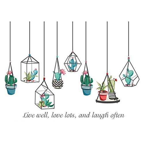 Trees Flowers Butterfly Wall Stickers Cartoon Animals Heart Shaped Wall Decals Home Decor PVC Art Mural Baby Boys Girls Kids Bedroom Kitchen Decoration Posters (Hanging Succulents Chandelier)