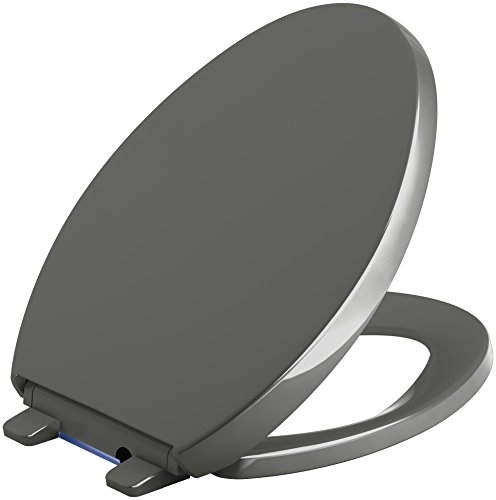 KOHLER 75792-58 Reveal Nightlight Quiet-Close with Grip-Tight Elongated-Front Toilet Seat, Thunder Grey