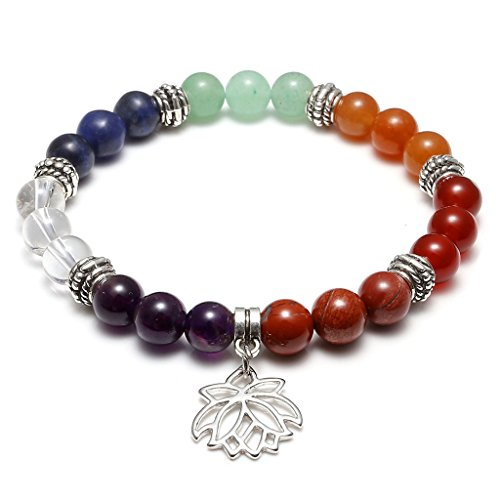 Jovivi 7 Chakras Yoga Meditation Healing Balancing Round Stone Beads Stretch Bracelet with Lotus ()