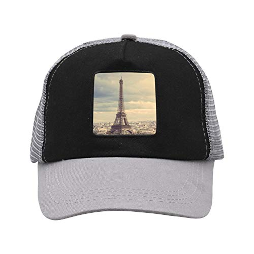 Eiffel Tower Adult Mesh Cap Suitable for Young People, Adults Gray