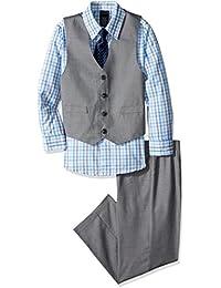 Boys' 4-Piece Vest Set with Dress Shirt, Bow Tie, Vest, and Pants