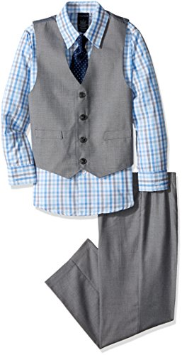 Nautica Boys' 4-Piece Vest Set with Dress Shirt, Bow Tie, Vest, and Pants, Light Grey, 2T