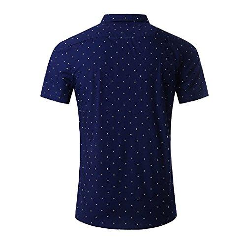 Polka Dot Short Shirts Blue Sleeve Cotton Casual Shirt NUTEXROL Navy Print Men's Premium qan4w
