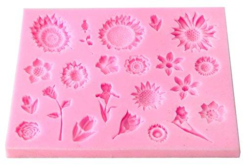Umiwe(TM) Silicone Mold Party Favor Fondant Cake Decoration Baking Tool,Sunflower Shape Random Color With Umiwe Accessory