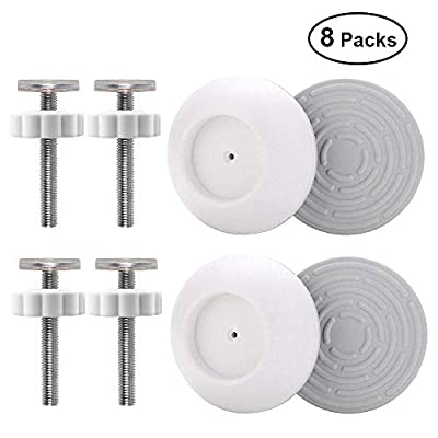 OFUN 4 Packs Baby Gate Wall Cups, 4 Packs Pressure Gates Threaded Spindle Rods, Safety Wall Bumpers Guard Fit for Baby Gates, Doorway, Stairs, Baseboard, Spindle Rods Kit for Dog Pet