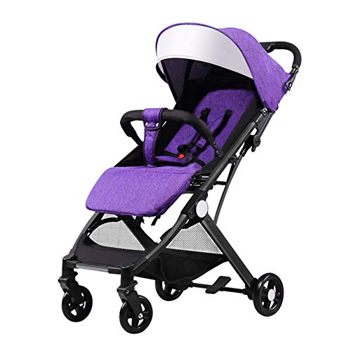 Reversible Single Stroller Liner - DYFAR Lightweight Stroller Buggy, Travel Buggy with Reclinable Backseat Easy One Hand Fold Compact Airplane Stroller(0-36 Months), Purple