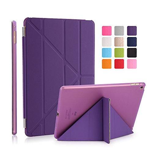 iPad Air 2 Case, Dowswin Multi Folded Protective PU Leather Front Case with Sleep Wake Up Function and Transparent Hard Back Cover for Apple 6th Gen (Purple)