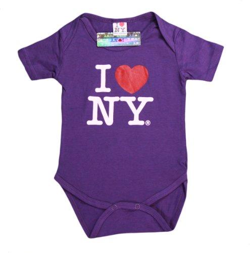 I Love NY New York Baby Infant Screen Printed Heart Bodysuit Purple Small 0-6...