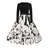 BingYELH Women Vintage Floral Bodycon Casual Evening Party Prom Swing Flare Dress