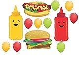 hamburger hot dog - 13pc BALLOON set BBQ barbecue HAMBURGER hotdog MUSTARD ketchup ANY OCCASION birthday REUNION retirement GIFT cookout COOKING class FAVORS