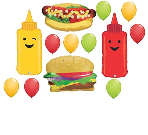 13pc BALLOON set BBQ barbecue HAMBURGER hotdog MUSTARD ketchup ANY OCCASION birthday REUNION retirement GIFT cookout COOKING class FAVORS ()