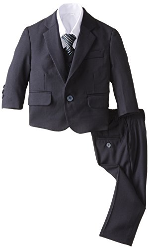 Joey Couture Baby Boys' 5 Piece Solid Suit, Navy, 24 Months