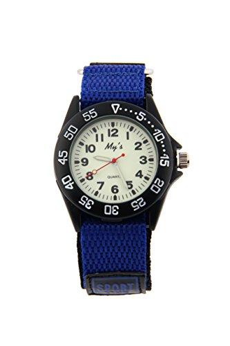 Sport Watch for Men Women Analog Quartz Watch Luminous Military Nylon Strap Hook Loop Wrist Watch Unisex for Teenagers Students (Large, Benzo Blue)