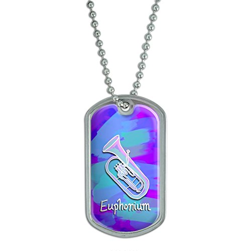 Euphonium - Musical Instrument Music Brass Band - Blue and Purple Military Dog Tag Keychain