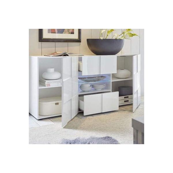 M-012 Buffet 2 Portes 2 tiroirs Blanc laqué Design SANDREA