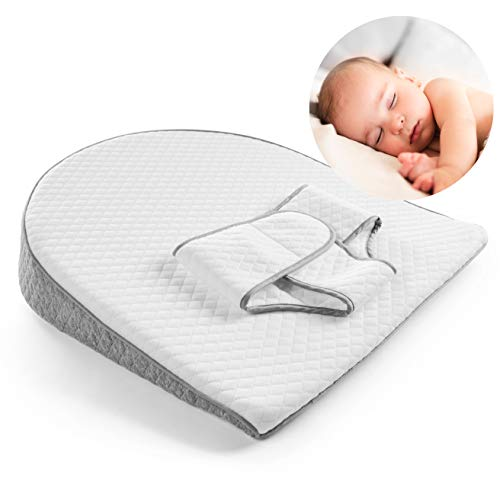 Modera-Baby-Reflux-Wedge-Foam-Bassinet-Elevation-Pillow-with-Adjustable-Swaddle-Belt-for-Infant-Acid-Reflux-Colic-Flat-Head-Correction-Soft-Cushion-Promotes-Better-Sleep-Digestion-Relaxation