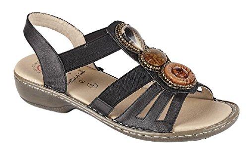 Wellness JASMINE Ladies Elasticated Halter Back Sandals Black Black